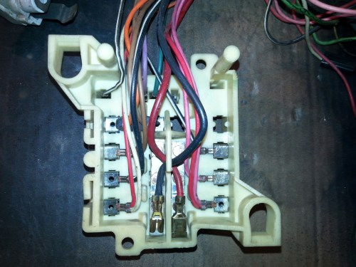 small resolution of back side of fuse block after re work tim s 1970 dodge challenger r t back side of fuse box