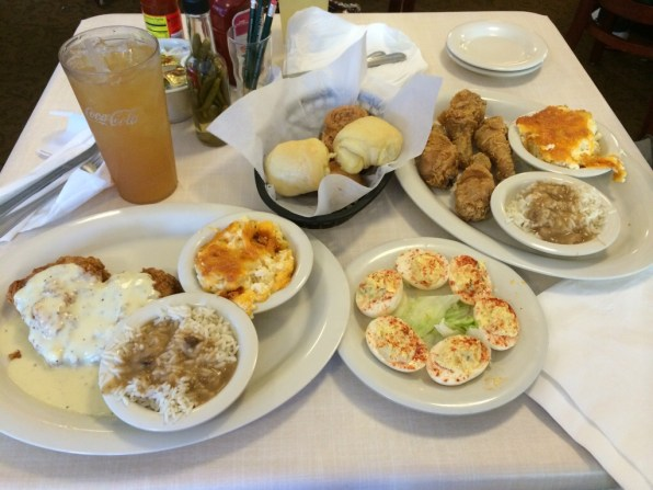 Mary Mac's Chicken Fried Chicken and Fried Chicken dinner with Deviled Eggs.