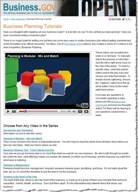 business plan tutorial video