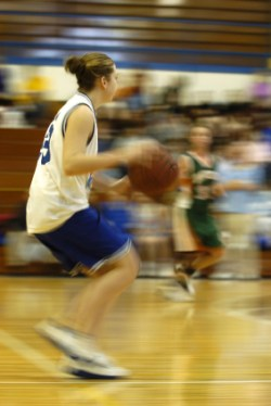 girls basketball dribbling