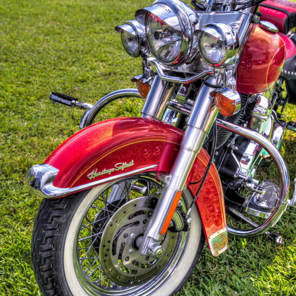 This Harley Softail was at a recent auto show. As nice as the entire bike was, it was the circles of lights and front wheel that caught my attention. I'm sure the bright red paint had nothing to do with it. Photo by Tim Stanley Photography.