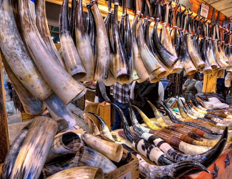 These horns have been made into blowing horns. I bought one many years ago, but this city boy can't quite get the sound from one that the cowboys can. Photo by Tim Stanley Photography.