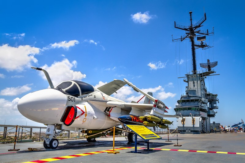 This A6-E Intruder on the USS Lexington is on loan from the National Museum of Naval Aviation in Pensacola, Florida. Photo by Tim Stanley Photography.