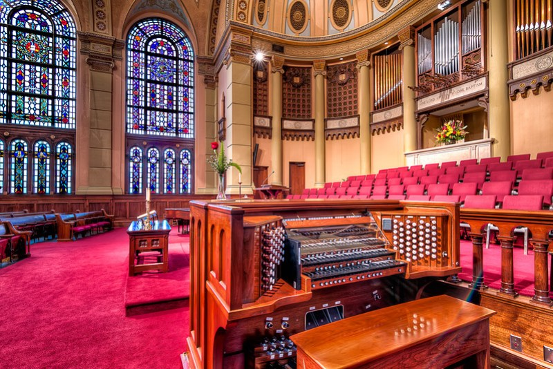The Sanctuary Pipe Organ at South Main Baptist Church in Houston, Texas dates back to 1934.