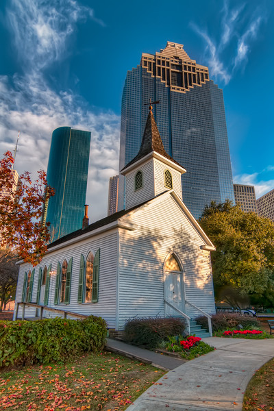 In the shadow of downtown Houston, lies Sam Houston Park The small, white   St. John Church is a symbol of a more simple time of Houston's beginnings. Photo by Tim Stanley Photography