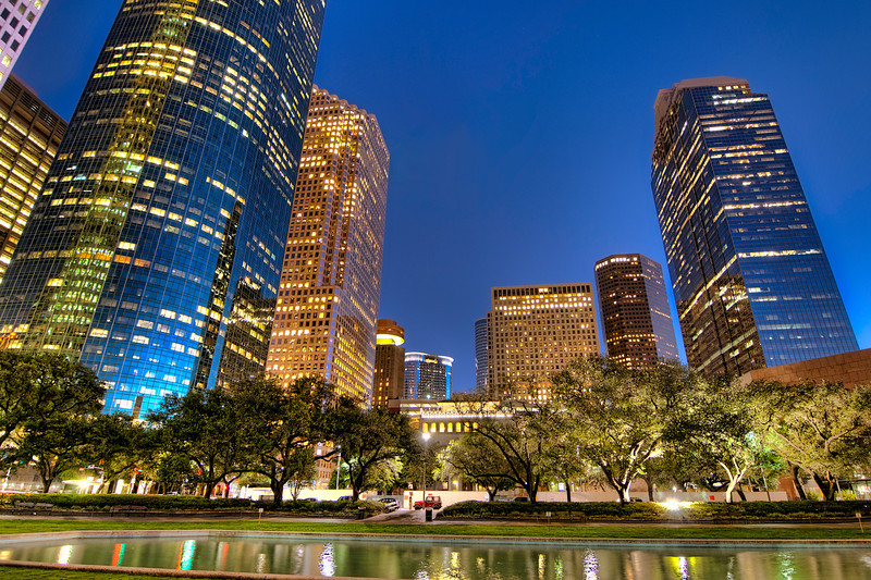 This photo was taken on the lawn in front of the Houston City Hall, looking south at dusk. Photo by Tim Stanley Photography.