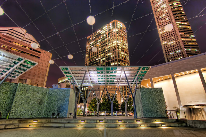 Every time I go downtown, I discover something new. I had seen something on Google Earth, but wasn't sure what it was. When I had a chance to check it out in person, I discovered an outdoor concert area in the heart of Houston's theater district called Jones Plaza. Photo by Tim Stanley Photography