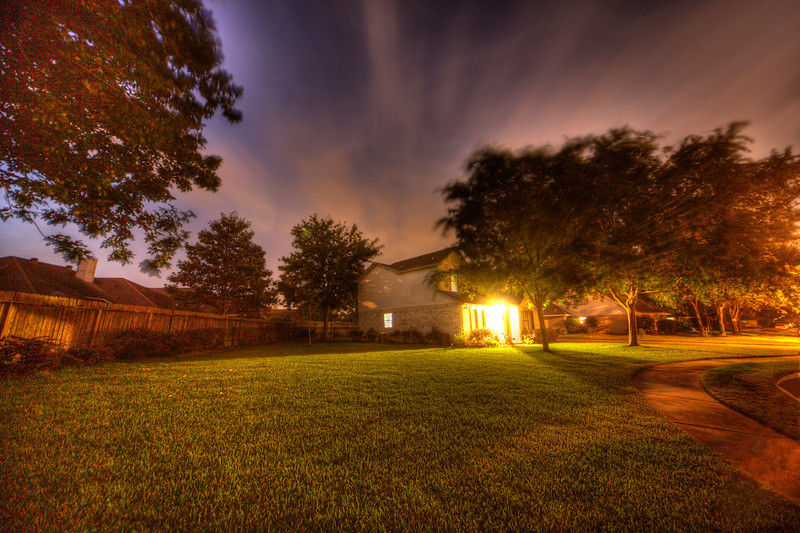 The more you work at a hobby, the better you get  (hopefully). This is one of my early attempts last spring trying HDR photos. HDR, along with nighttime exposures, brought out details that the eye alone can't see. A wide-angle lens make this yard look larger than it really is, plus the movement of the clouds during the exposure gives the sky a surreal feel.Maybe it's the unexpected surprises like this that I enjoy so much about HDR and nighttime photography. Photo by Tim Stanley Photography.
