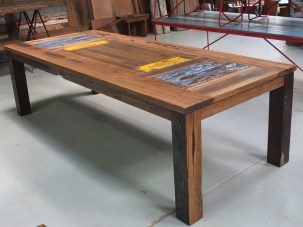Recycled timber dining table with original Scheppes inlay