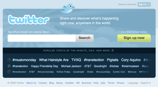 Twitter's new homepage is all about real-time search.