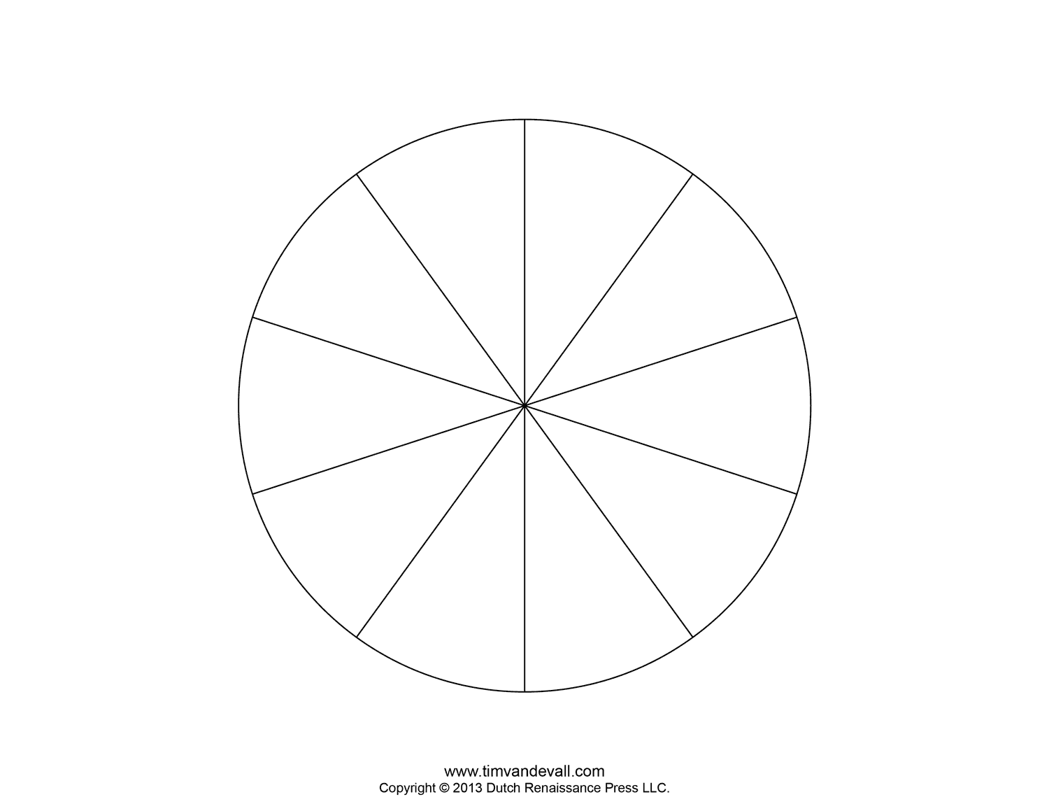 Circle With 24 Sections Template