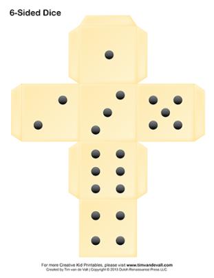 printable six-sided dice