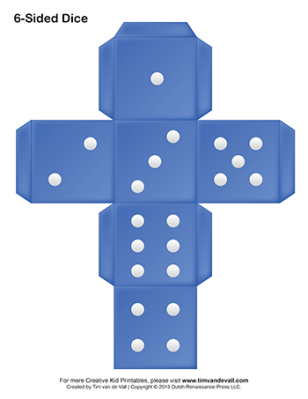 paper six-sided dice blue