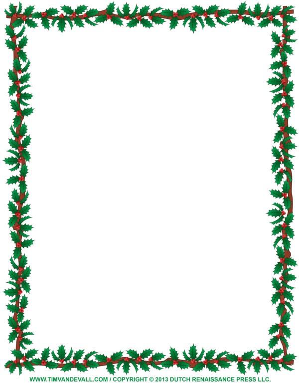 holly border calendar template