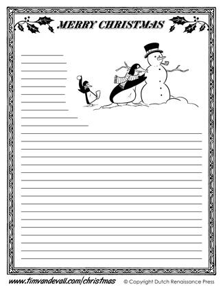 Christmas Writing Paper Templates