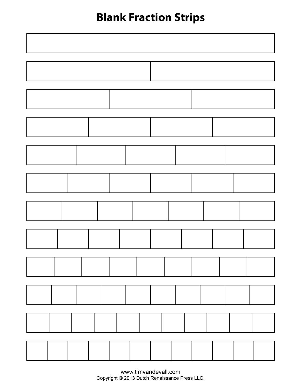 Free Printable Fraction Strips Blank Fraction Bars