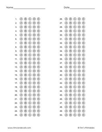 answer sheet templates