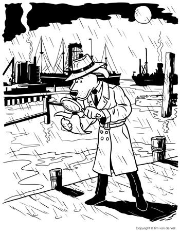 Detective Dog Coloring Page
