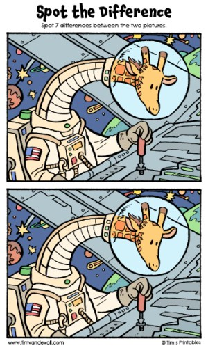 """Spot the Difference 12 - """"Mary the Space Giraffe"""""""