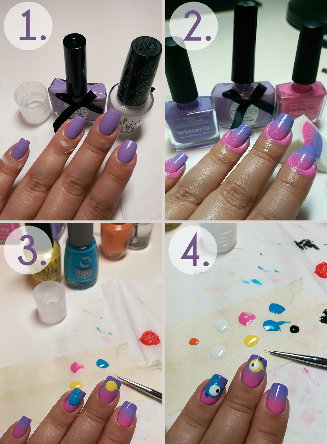 Cute Bird And Cat Nail Art Step By