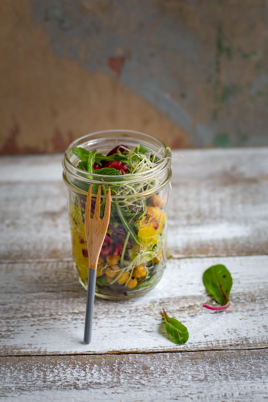 Wild herbs salad in a glas
