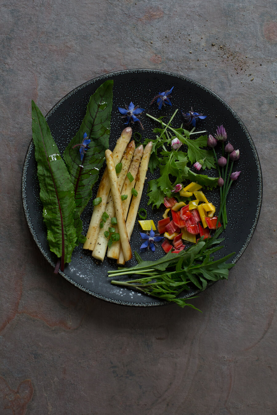 Grilled baby asparagus