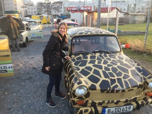 I in front of a Trabi painted in leopard style