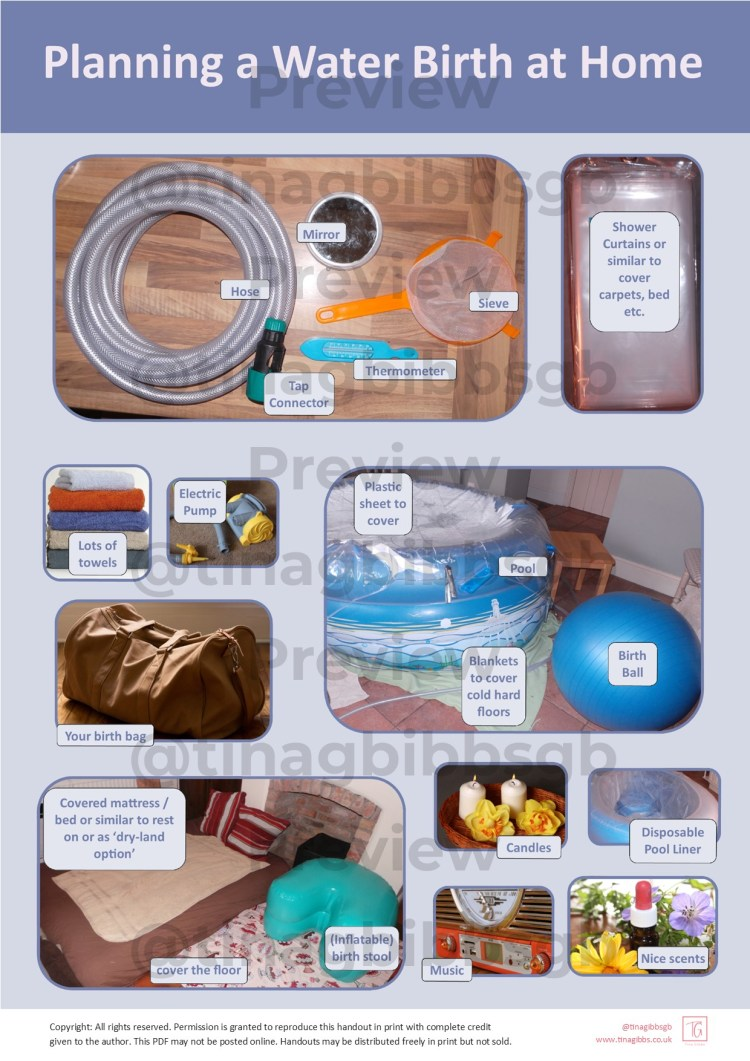 This Waterbirth Handout explores benefits and practicalities of having a waterbirth at home or in a hospital setting.