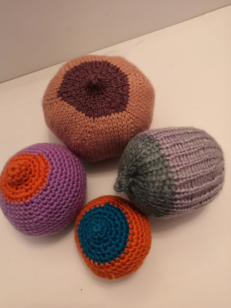 knitted or crocheted breasts/boobs