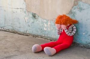 A doll cries