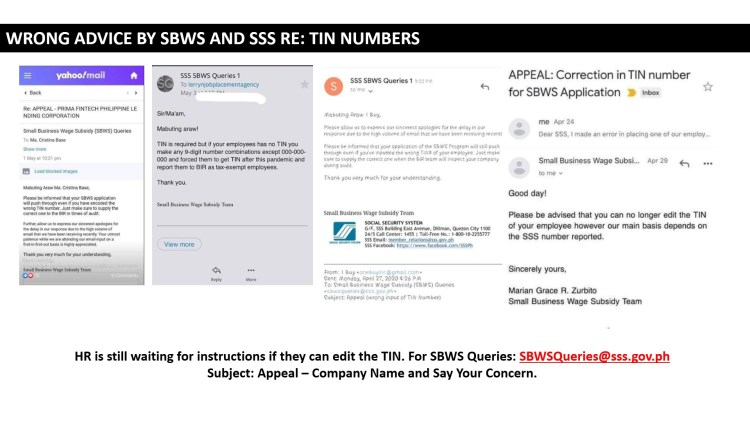 13 - Wrong Advice by SBWS and SSS Re TIN