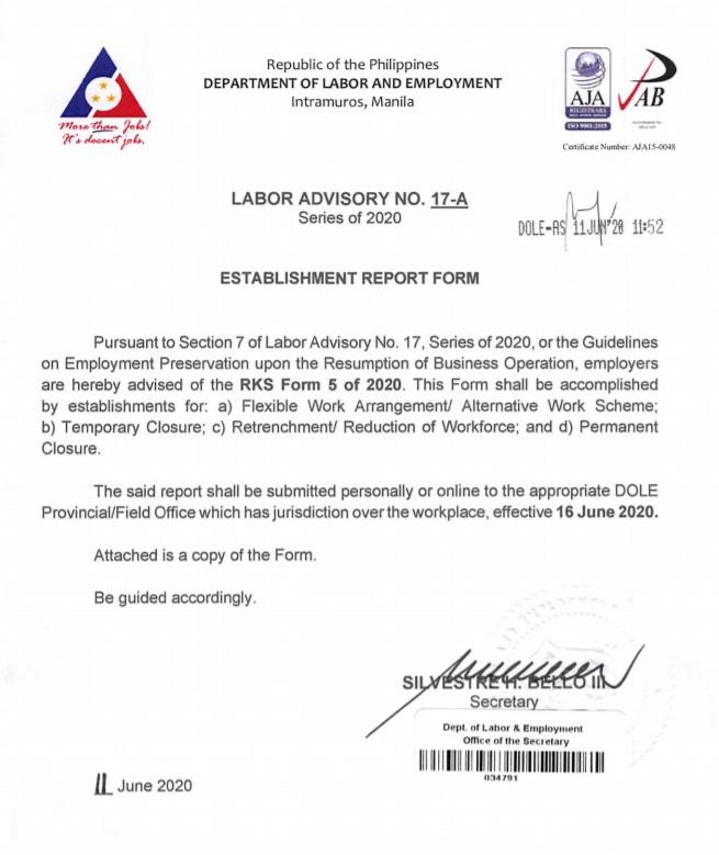 Labor Advisory 17-A