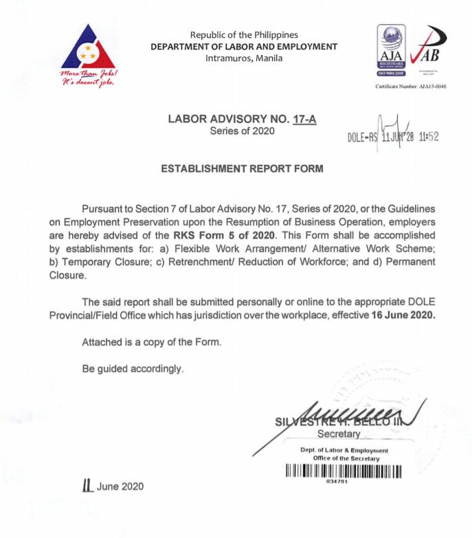 Labor Advisory No. 17-A