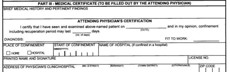 Medical Certificate To Be Filled