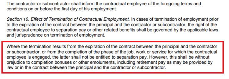 separation contractual