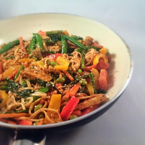 Tempeh Rainbow Stir Fry with Thai Peanut Dressing