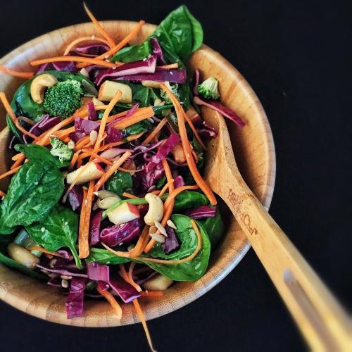 Crunchy Cashew Salad with Honey Ginger Dressing