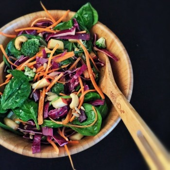 This Crunchy Cashew Salad with Honey Ginger Dressing is a great nutrient dense meal that elite runner Tina Muir enjoys to fuel her training.