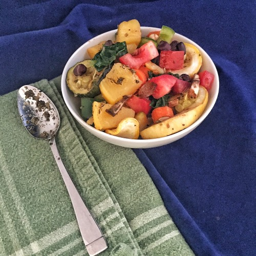 This italian dressed summer vegetable salad by elite runner Tina Muir is a great meatless meal to get everything you need to fuel your training.