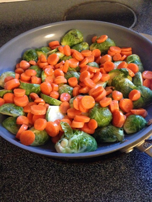 Honey Sautéed Brussels sprouts and carrots