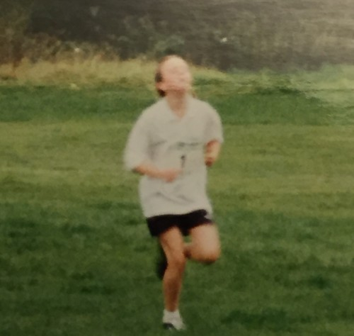 Possibly the first running photo of me.....explains why it has been so hard for me to bring my chin down all these years later- sorry Drew!