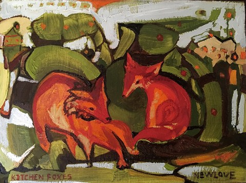 "Kitchen Foxes, oil on wood panel, 6 x 8"", 2017, $300."