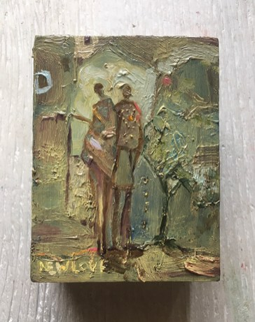"Working It Out Together, oil on wood panel, 3 x 4"", 2020"