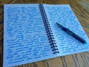Turquoise writing