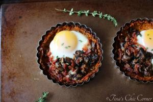 10Mushroom, Bacon, and Egg Tart With Sweet Potato Crust