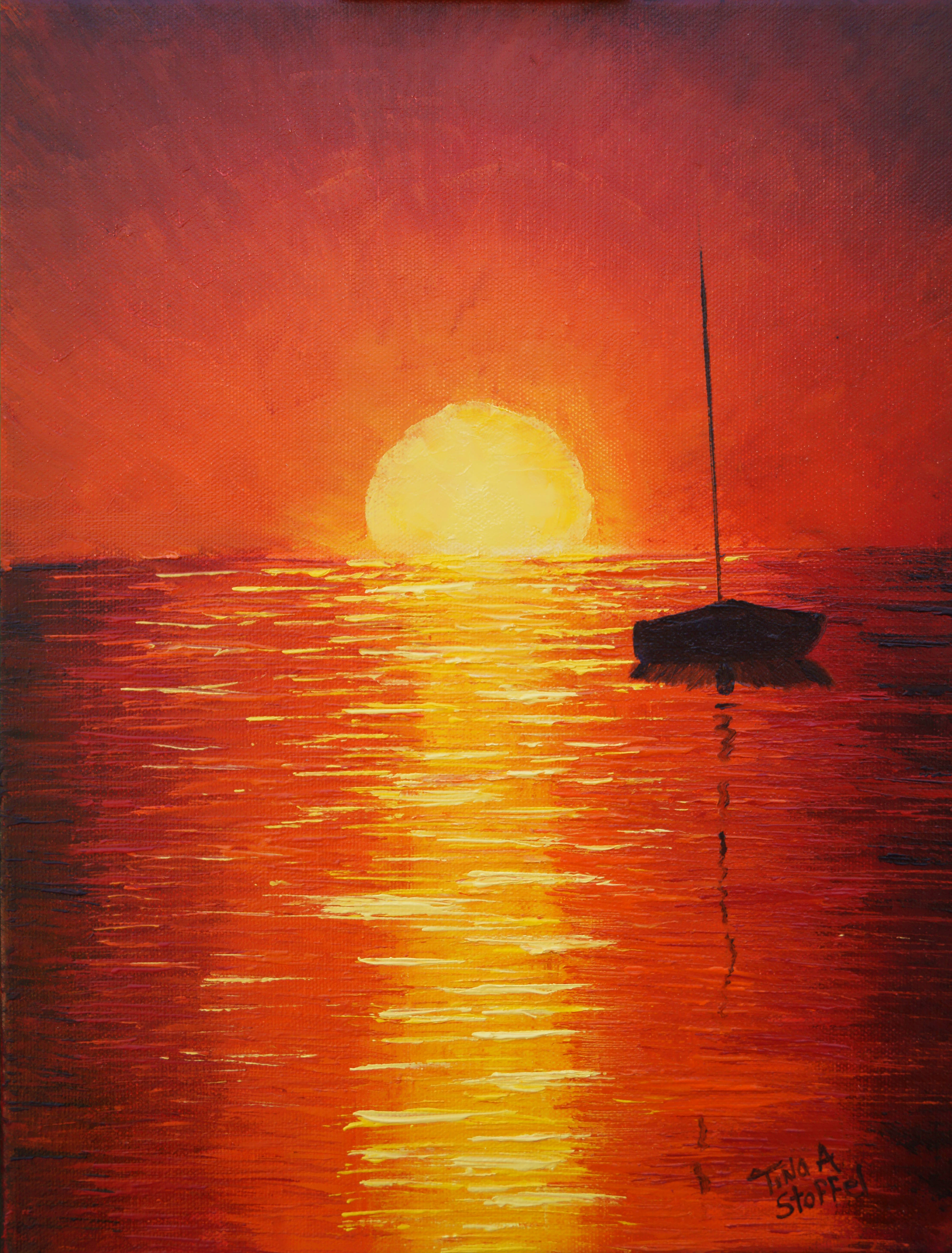 Red Sunset Sailboat Original Oil On Canvas Painting