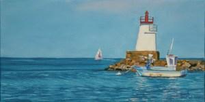 lighhouse seascape painting