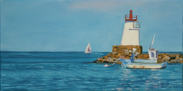 lighhouse seascape painting