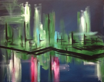 "Waterfront Lights (36""x24"", gallery canvas, $400)"