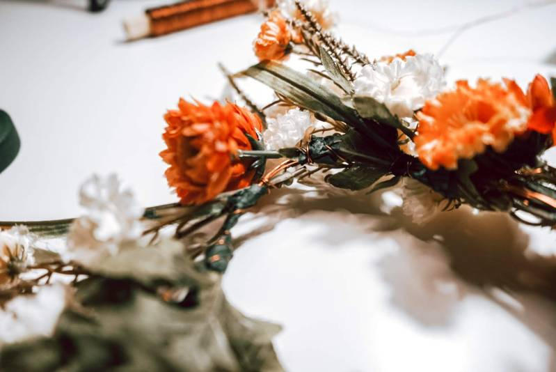 Dog Flower Crown DIY accented with Copper Wire